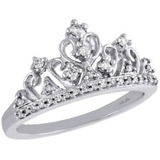10K Whte Gold Round Diamond Queens Crown Ladies Right Hand Coctail Ring 1/5 Ct.