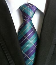 Hot Classic 100% Silk Mens Necktie Ties Jacquard Woven Purple Green Stripes KT54