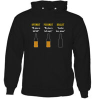 BEER OPTIMIST HOODIE Mens Funny Alcohol Larger BBQ Party Stag Do Unisex Tee Top