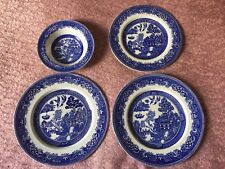 2x Vintage Alfred Meakin old willow pattern Plate, Side Dish & China bowl