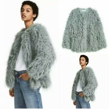 Trendy & Chic Teal Shaggy Faux Fur Loose Jacket Outerwear ML