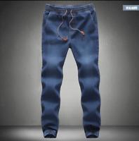 Mens Denim Jogger Drawstring Harem Pants Sweatpants Jeans Casual Skinny Trousers