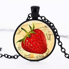 Strawberry photo Black Dome Glass Cabochon Necklace chain Pendant #478