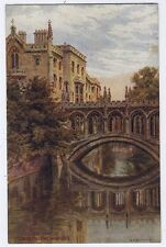 Bridge of Sighs, St John's College, Cambridge vintage A R Quinton Postcard 1949