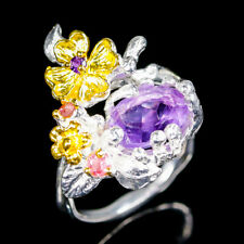 Handmade Natural Amethyst 925 Sterling Silver Ring Size 7/R102509