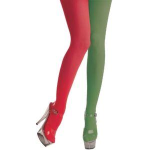 Mesdames Teen rouge et vert décor à Rayures Elf de Noël Christmas Tights Fancy Dress Costume