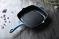 Cast Iron Grill Pan 27cm Square Griddle Blue Enamel Porcelain Heavy Cookware