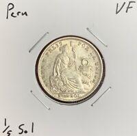 1917 Peru 1/5 Sol - 20 Centavos - VF - Very Fine - 90% Silver