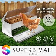 Auto 8.2L Aluminium Chook Poultry Chicken Food Feeder Treadle Self Opening Coop