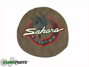"1997-2006 Jeep Wrangler TJ Sahara 30"" Spare Tire Cover TAN W/ Sahara Logo OEM"