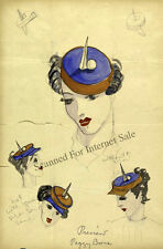 Rare Hat Drawing Design 1939 New York Worlds Fair Trylon & Perisphere Fashion