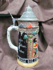 Decorative Metal Lidded German Beer Stein