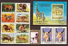 342 AJMAN Animaux sauvages et sacrés 2 blocs et 3 timbres oblitérés.Port gratuit