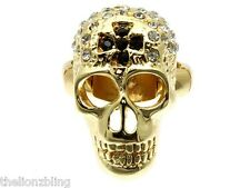 Last One! Urban Biker Gold Skull & Cross Stretch Ring with Crystal Bling