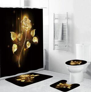 Golden Rose Bathroom Rug Shower Curtain Thick Bath Mat Non-Slip Toilet Lid Cover