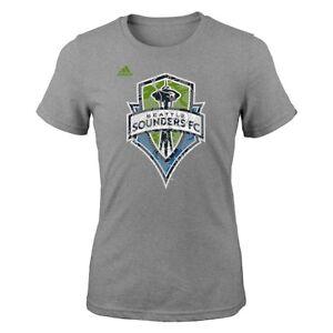 "Seattle Sounders FC Adidas MLS Girls Grey ""Pearl Logo"" T-Shirt"