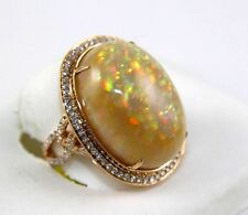 14k Rose Gold Oval Fire Opal & Diamond Halo Ring