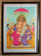 RAJA RAVI VARMA - Riddhi Siddhi Ganapati. Orig. oleography Malavi Press 222.