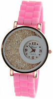Rose Gold Silicon Band Women's Round Face Fashion Watch With Floating Crystals