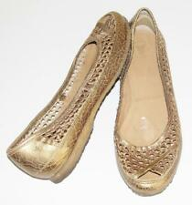 FRYE~MESH LEATHER~METALLIC CRACKLE~SLIP-ON~BALLET FLAT SHOES~9.5 (RARE)