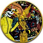 2018 2 Oz Silver Mexican DAY OF THE DEAD LIBERTAD Coin WITH 24K GOLD, COA #2.