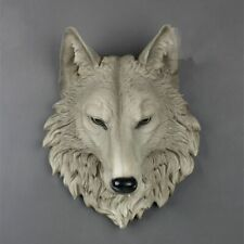 Wolf Head Wall Mounted Decoration Figurine Hanging Animal Resin Pendant Ornament