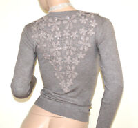 PULL BEIGE femme cardigan maillot à manches longues brodées strass pullover A21