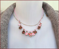PILGRIM GOLD PINK WIRE DOUBLE CHAIN NECKLACE CRYSTALS ENAMEL CHARM PINK FLOWERS