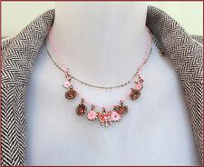 Pilgrim Necklace Women's Jewelry Swarovski Crystals Enamel Charm Flowers Gold