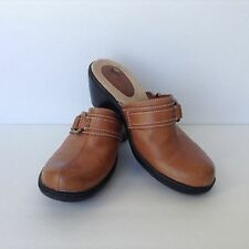 Womens Clarks Tan Light Brown Leather Clogs Size 8m Slip On Slides Sandals Mules