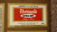 OLD USA AMERICAN BEER LABEL, RHEINGOLD PHILADELPHIA & CLEVELAND, EXTRA DRY 12 OZ