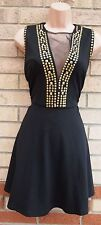GLAMOROUS GOLD BEADED STUDS STUDDED MESH SKATER A LINE PARTY RARE DRESS 12 M