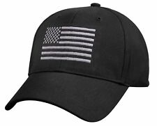 Low Profile Subdued Black & Silver US Flag Baseball Hat Cap Rothco 8978