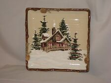 "St. Nicholas Square Collection  ""Snow Valley"" Pattern 8 1/2"" Square Salad Plate"