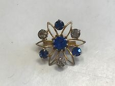 STUNNING VINTAGE ESTATE FIND SIGNED CORO FAUX GOLD FLOWER BROOCH W/BLUE BEADS J1