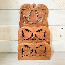 Vintage Hand Carved Wood Hanging Letter Holder Made In India Leaf Design Boho