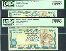 TT PK 21a 1988 RWANDA 1000 FRANCS PCGS 67 PPQ SET OF TWO SEQUENTIAL S/N NOTES!