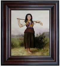 Framed Hand Painted Oil Painting Repro Bouguereau, The Shepherdess, 20x24in