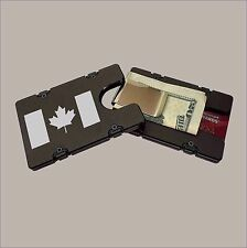 CANADIAN FLAG Black BILLET Aluminum Credit Card Holder/Wallet RFID Protection