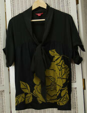 "MONSOON Silk-Blend Top UK14 41"" Bust Black Yellow Floral Shirt Blouse Pussy Bow"