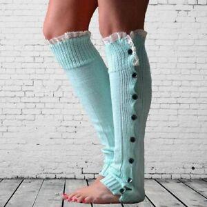 Knitted Leg Warmer Winter Wool High Knee Cover Socks Striped Boot Cuffs Garments