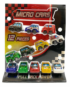 12 PULL BACK MICRO CARS STREET MACHINES RANGE OF COLOURS TYPE AND SHAPES 12 PACK