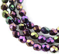 50 Firepolish Czech Faceted Round Beads - Iris - Purple 4mm