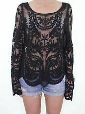 Beautiful black embroidered lace sheer romantic blouse top fits size 12