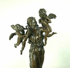 Bronze statue Lady w/ Two Angel Cherub Figurine, Signed Augusts Saint Gaudens