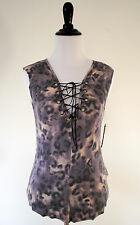 Women's Guess Leopard Print Top Small NWT $49 Lace Tie Up Blouse Short Sleeve S