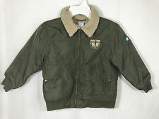 Gymboree Boys 4 4T Green Pilot Aviator Winter Coat Jacket Fleece Lined Military
