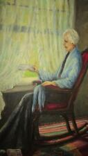 ANTIQUE OIL PAINTING ON CANVAS BY AUTHOR FRANKIE OLIVER IVY OLD WOMEN BY WINDOW