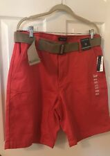 Nautica Shorts Mens Size 38 True Khaki Flat Front Sailor Red Nantucket