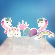 24X Cartoon Unicorn Cupcake Toppers For Baby Shower Kids Birthday Party Decor S